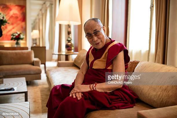 The Dalai Lama poses for Paris Match on september 13 2016 in Paris France