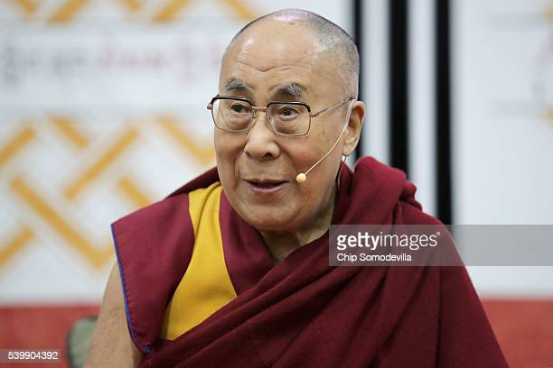 The Dalai Lama prepares to address followers and supporters during an event at the Bender Arena on the campus of American University on June 13 2016...
