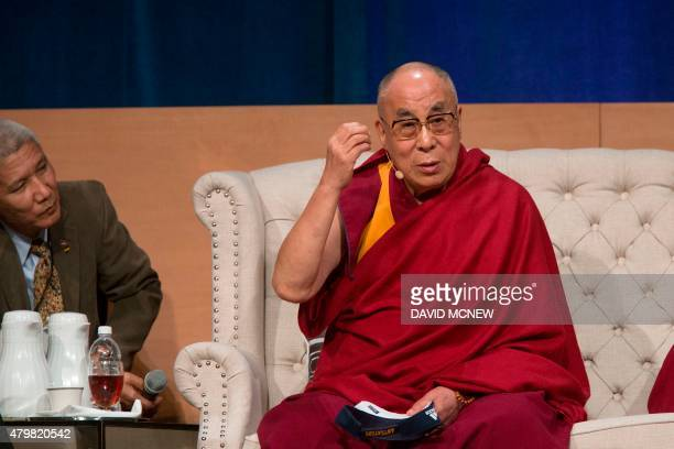 The Dalai Lama speaks at the University of CaliforniaIrvine on July 7 in Irvine California where the Tibetan Buddhist religious leader is having a...