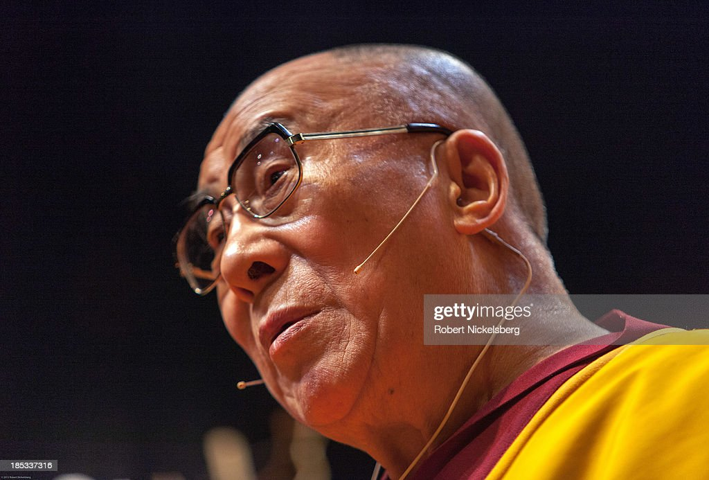 The Dalai Lama speaks to an audience at the Beacon Theater October 18 2013 in New York City The Dalai Lama is in New York for three days of Buddhist...