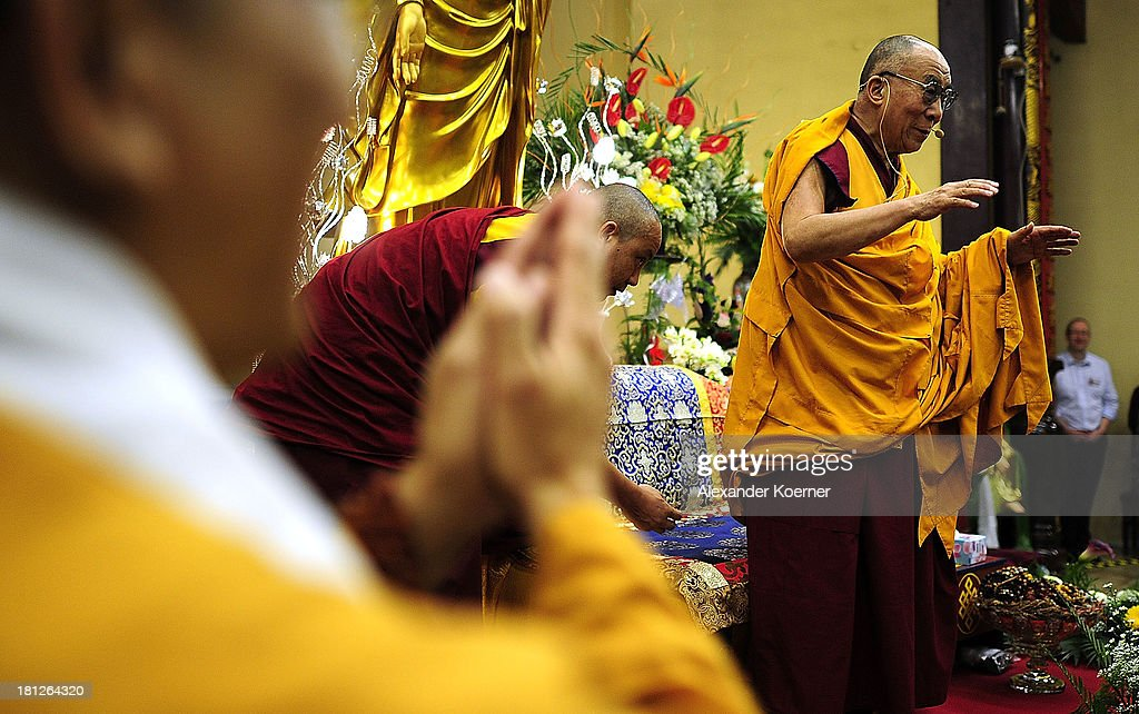 The Dalai Lama speaks to his supporters at the Vien-Giac Pagoda monastery on September 20, 2013 in Hanover, Germany. His Holiness will travel next to India.