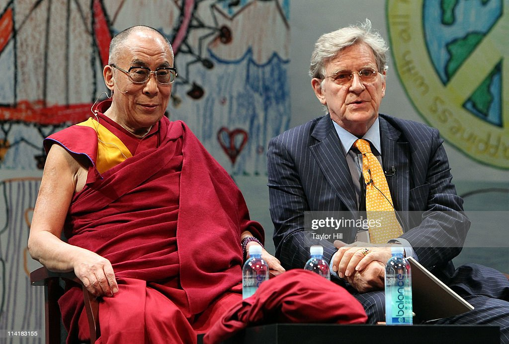 The Dalai Lama <a gi-track='captionPersonalityLinkClicked' href=/galleries/search?phrase=Tenzin+Gyatso&family=editorial&specificpeople=14698064 ng-click='$event.stopPropagation()'>Tenzin Gyatso</a> and Tibetan scholar Robert A.F. Thurman attend the Newark Peace Education Summit at New Jersey Performing Arts Center on May 14, 2011 in Newark, New Jersey.