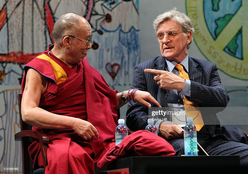 The Dalai Lama Tenzin Gyatso and Tibetan scholar Robert A.F. Thurman attend the Newark Peace Education Summit at New Jersey Performing Arts Center on May 14, 2011 in Newark, New Jersey.
