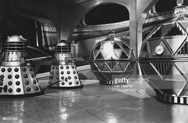 The Daleks and Mechonoids battle it out in 'The Chase' a sixpart serial from the popular British television scifi series 'Doctor Who' 15th April 1965