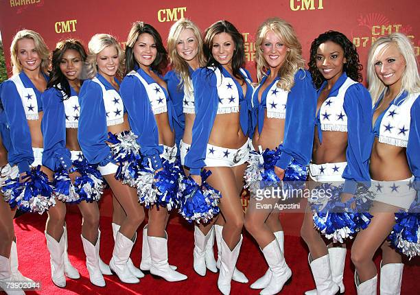 The Dallas Cowboy Cheerleaders arrive at the 2007 CMT Music Awards at the Curb Event Center at Belmont University April 16 2007 in Nashville Tennessee