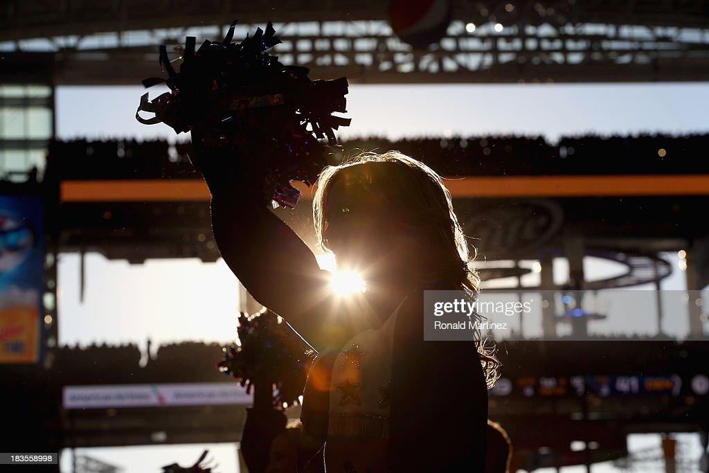 The Dallas Cowboys Cheerleaders at AT&T Stadium on October 6, 2013 in Arlington, Texas.