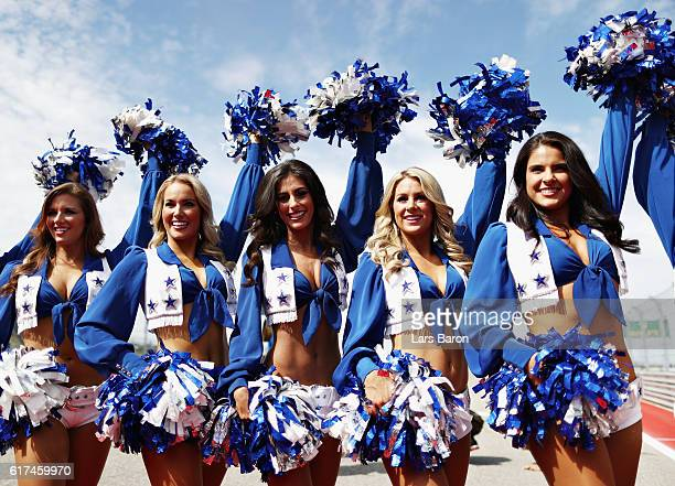 The Dallas Cowboys Cheerleaders before the United States Formula One Grand Prix at Circuit of The Americas on October 23 2016 in Austin United States
