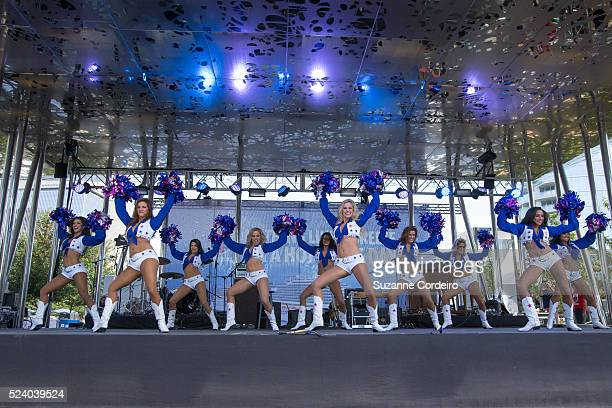 The Dallas Cowboys Cheerleaders perform at Carnival's Ultimate Cowboys Fan Fest on October 18 2015 at Klyde Warren Park in Dallas Texas More than...