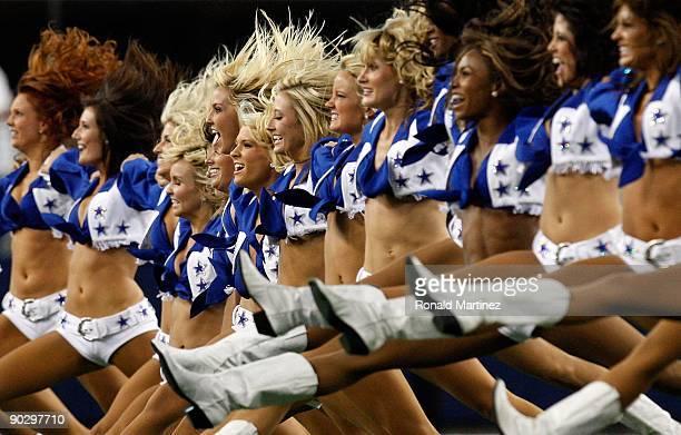 The Dallas Cowboys cheerleaders perform at Cowboys Stadium on August 29 2009 in Arlington Texas