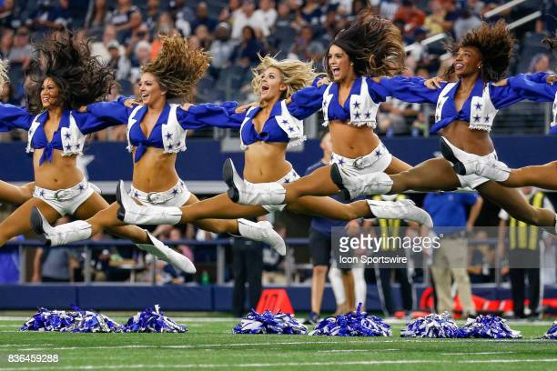 The Dallas Cowboys Cheerleaders perform during the NFL preseason game between the Indianapolis Colts and Dallas Cowboys on August 19 2017 at ATT...