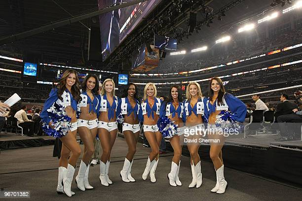 The Dallas Cowboys Cheerleaders pose for a portrait during the NBA AllStar game as part of the 2010 NBA AllStar Weekend on February 14 2010 at Cowboy...