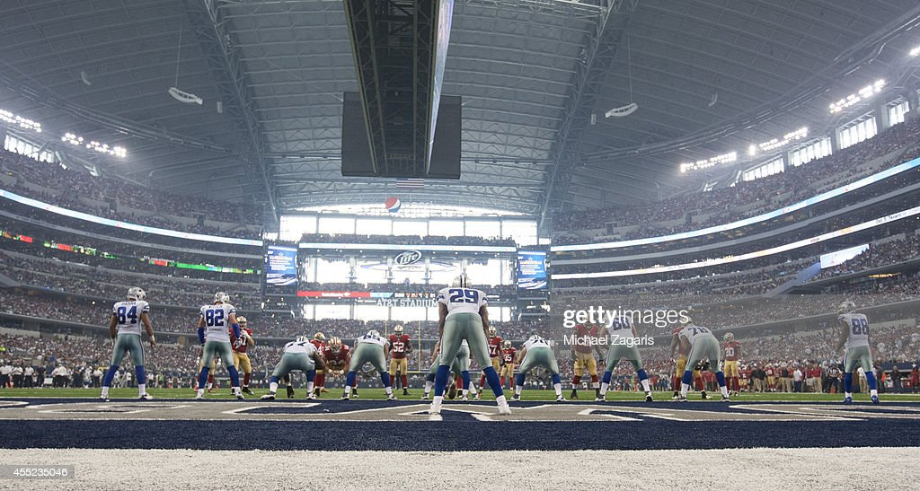 The Dallas Cowboys get ready to snap the ball with their backs to the endzone during the game against the San Francisco 49ers at ATT Stadium on...