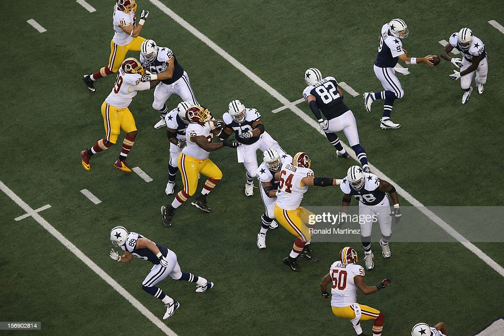 The Dallas Cowboys on offense against the Washington Redskins at Cowboys Stadium on November 22, 2012 in Arlington, Texas.