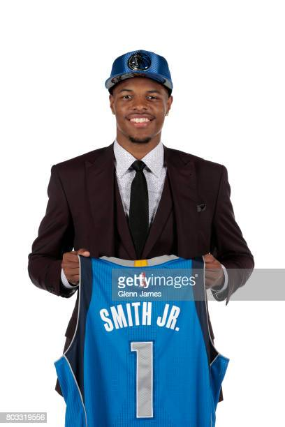 The Dallas Mavericks 2017 draft pick Dennis Smith Jr of the Dallas Mavericks poses for a portrait during a press conference on June 23 2017 at...