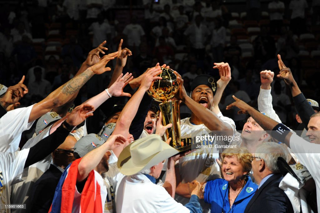 The Dallas Mavericks celebrate after winning the NBA Championship by defeating the Miami Heat during Game Six of the 2011 NBA Finals on June 12, 2011 at the American Airlines Arena in Miami, Florida.