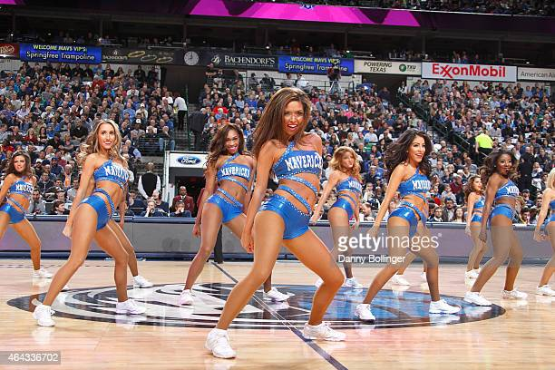 The Dallas Mavericks dance team performs during a game against the Toronto Raptors on February 24 2015 at the American Airlines Center in Dallas...
