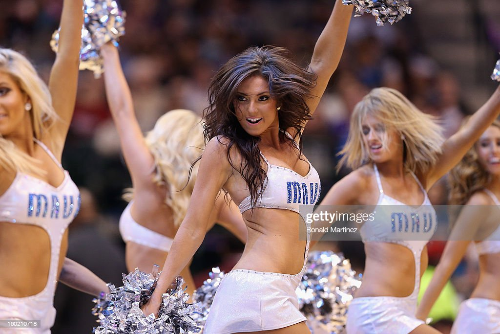 The Dallas Mavericks dancers perform at American Airlines Center on January 27, 2013 in Dallas, Texas.