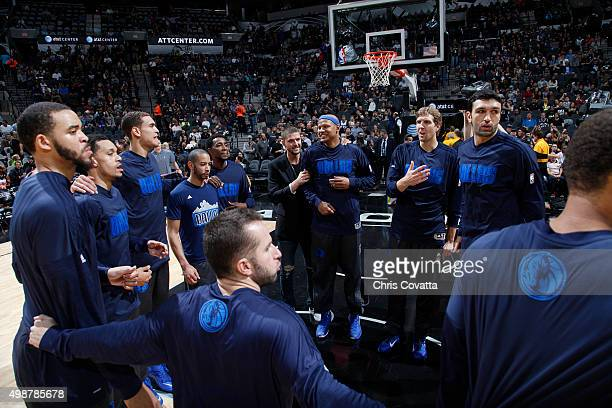 The Dallas Mavericks huddle up before the game against the San Antonio Spurs on November 25 2015 at the ATT Center in San Antonio Texas NOTE TO USER...