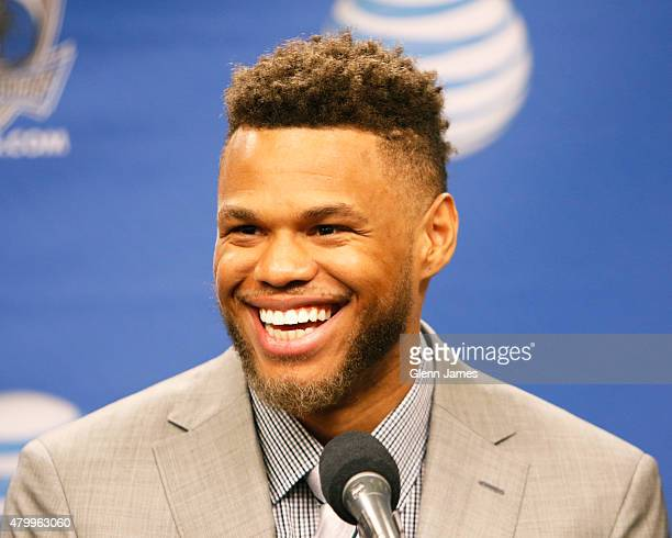 The Dallas Mavericks introduce draft pick Justin Anderson at a press conference on July 8 2015 at American Airlines Center in Dallas TX NOTE TO USER...