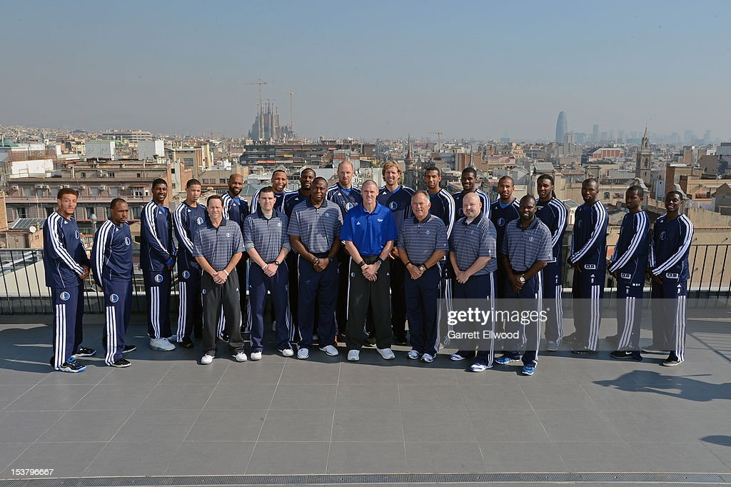 The Dallas Mavericks pose for a team photo on the roof of the Majestic Hotel during NBA Europe Live 2012 on October 9, 2012 in Barcelona, Spain.