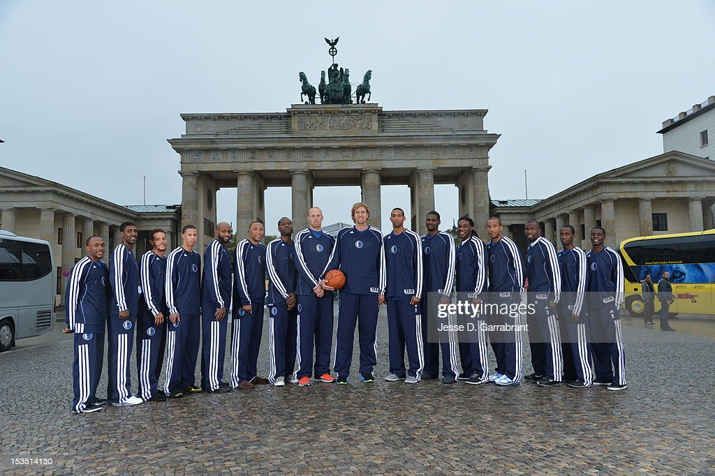 The Dallas Mavericks poses for a photo in front of Brandenburg Gate during NBA Europe Live 2012 on October 6, 2012 in Berlin, Germany.