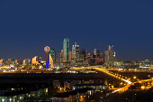 The Dallas skyline at night in Texas