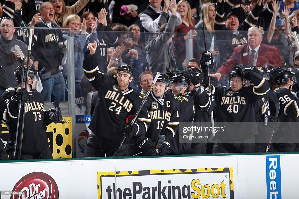 The Dallas Stars bench celebrates a goal against the Phoenix Coyotes at the American Airlines Center on January 19, 2013 in Dallas, Texas.
