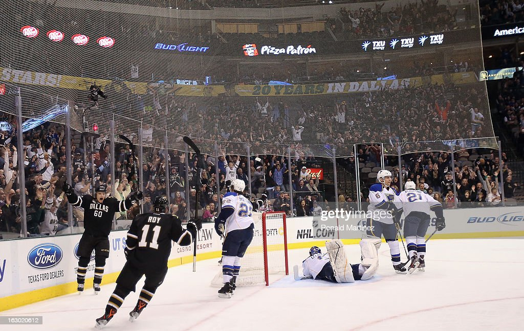The Dallas Stars celebrate a goal against the St. Louis Blues at American Airlines Center on March 3, 2013 in Dallas, Texas.