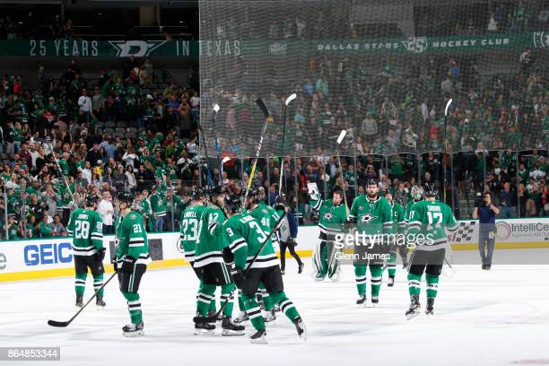 The Dallas Stars celebrate a win against the Carolina Hurricanes at the American Airlines Center on October 21 2017 in Dallas Texas