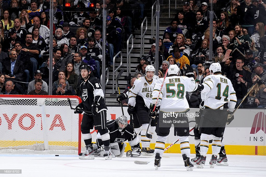 The Dallas Stars celebrate after a goal against the Los Angeles Kings at Staples Center on March 7, 2013 in Los Angeles, California.