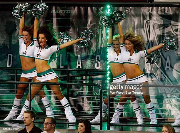 The Dallas Stars Ice Girls perform before the season opener against the Chicago Blackhawks at the American Airlines Center in Dallas on Thursday Oct...