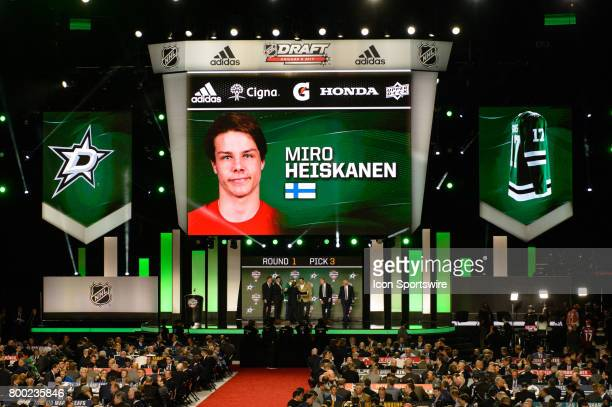 The Dallas Stars select defenseman Miro Heiskanen with the 3rd pick in the first round of the 2017 NHL Draft on June 23 at the United Center in...