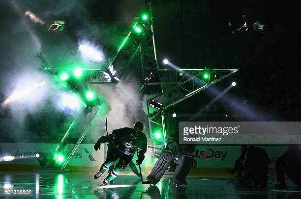 The Dallas Stars skate onto the ice before a game against the Chicago Blackhawks at American Airlines Center on December 22 2015 in Dallas Texas