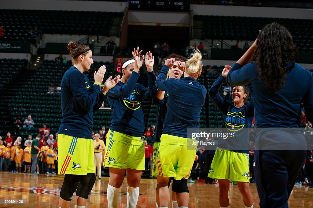 The Dallas Wings huddle before a preseason game against the Indiana Fever on May 1, 2016 at Bankers Life Fieldhouse in Indianapolis, Indiana.