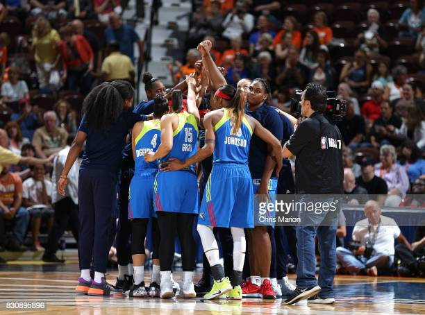 The Dallas Wings huddle before the game against the Connecticut Sun on August 12 2017 at Mohegan Sun Arena in Uncasville CT NOTE TO USER User...