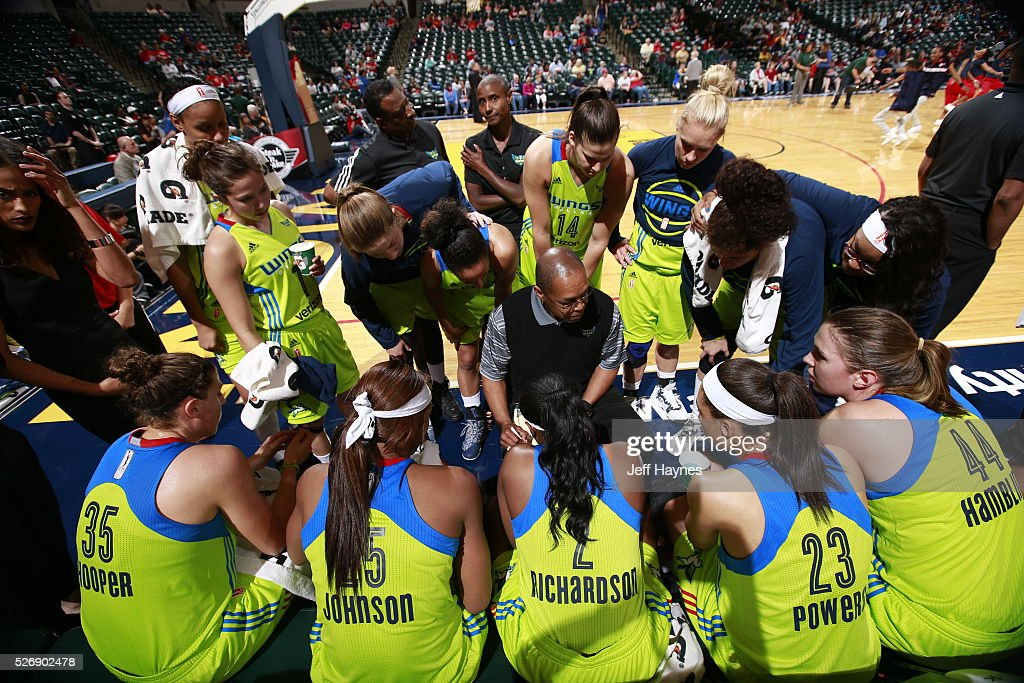 The Dallas Wings huddle during a preseason game against the Indiana Fever on May 1, 2016 at Bankers Life Fieldhouse in Indianapolis, Indiana.