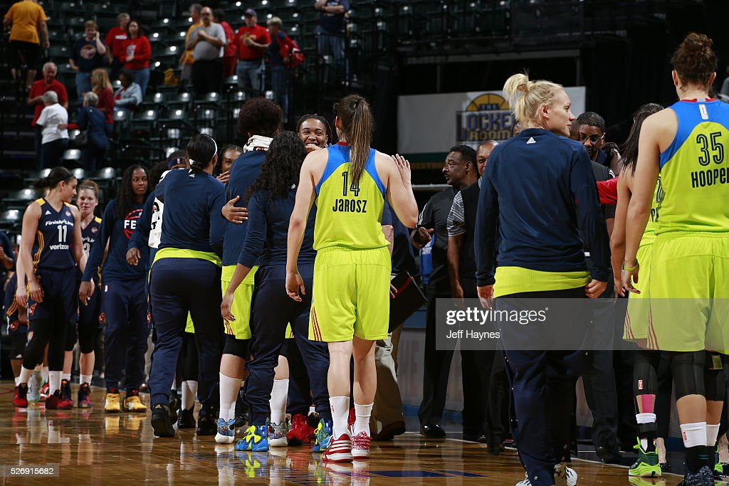 The Dallas Wings shake hands with the Indiana Fever after a preseason game on May 1, 2016 at Bankers Life Fieldhouse in Indianapolis, Indiana.