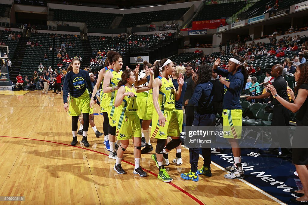 The Dallas Wings shakes hands during a preseason game against the Indiana Fever on May 1, 2016 at Bankers Life Fieldhouse in Indianapolis, Indiana.