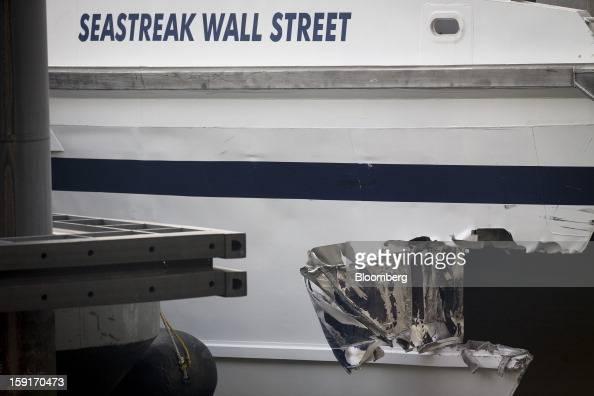 The damage on a Seastreak Wall Street commuter ferry is seen in New York US on Wednesday Jan 9 2013 A Seastreak Wall Street commuter ferry crashed...