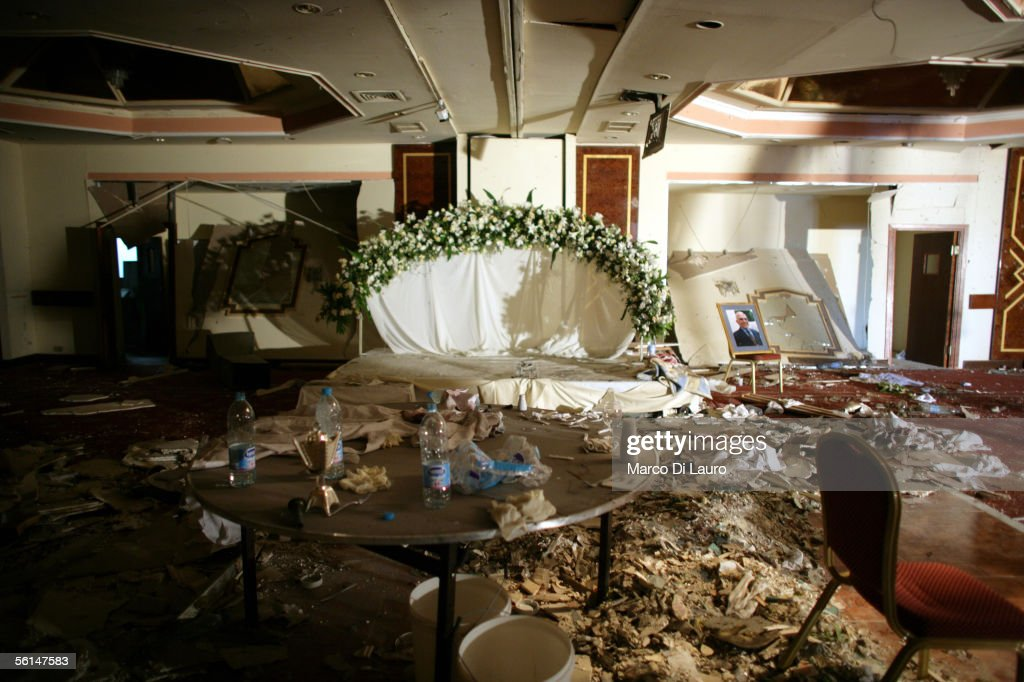 AMMAN JORDAN NOVEMBER 12 The damaged banquet hall of the Radisson SAS Hotel site of one of three November 9 suicide attacks that killed 57 people and...