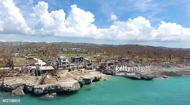 The damaged beachfront Dan's Creek hotel in Port Salut Haiti on October 11 2016