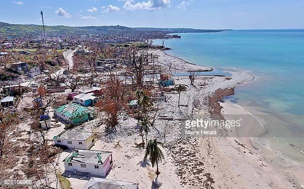The damaged beachfront hotel Reposoir du Village in Port Salut Haiti on October 11 2016