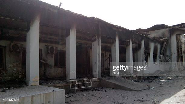 The damaged hospital in which the Medecins Sans Frontieres medical charity operated is seen on October 13 2015 following an air strike in the...
