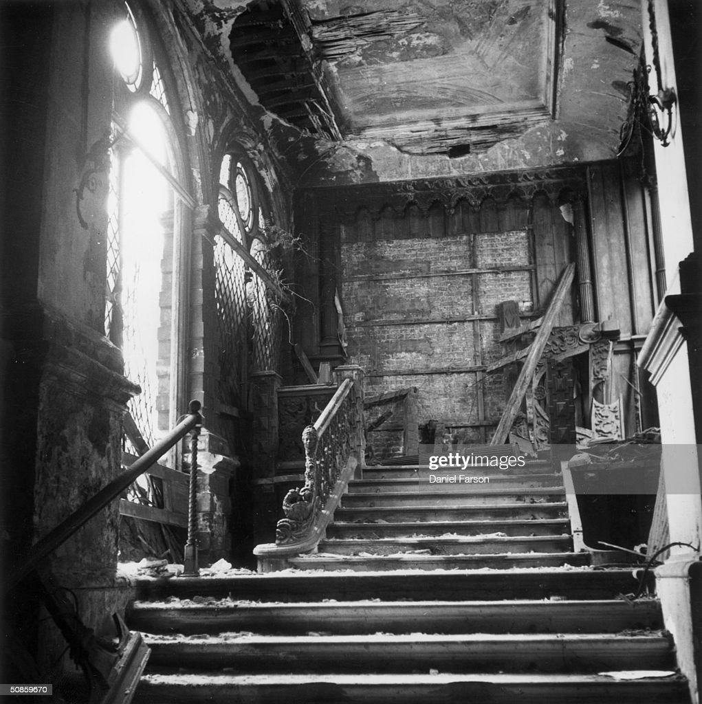 The damaged interior of North London's Holland House, 1952. The destruction was caused by bombs during World War II. Original Publication: Picture Post - 6290 - Holland House - unpub.