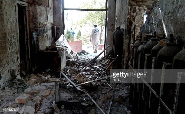 The damaged interior of the hospital in which the Medecins Sans Frontieres medical charity operated is seen on October 13 2015 following an air...