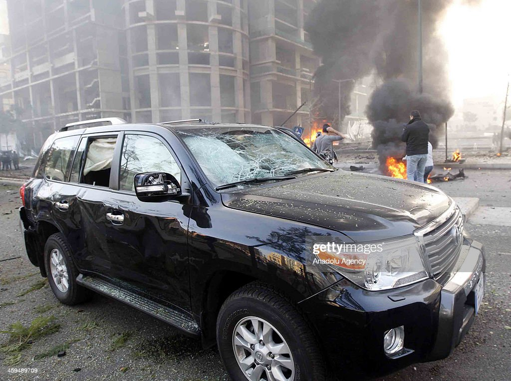 The damaged vehicle of Lebanon's Former Finance Minister Mohammed Shatah who killed in the powerful blast, is seen on December 27, 2013 in Beirut, Lebanon. A powerful blast rocked Lebanese capital Beirut early Friday, amid reports about casualties. The explosion reportedly targeted the convoy of a Lebanese politician, eyewitnesses said. The area where the blast struck houses Lebanese Prime Minister Najib Mikati's residence and the house of former premier Saad al-Hariri.