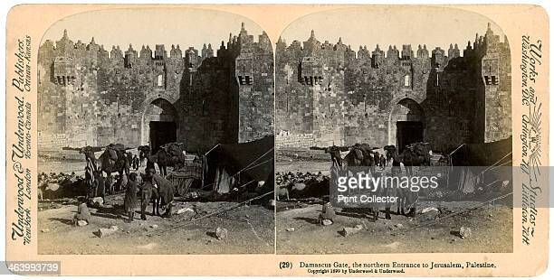 The Damascus gate the nothern entrance to Jerusalem 1899 Stereoscopic slide From a series called Travelling in the Holy Land Through the Stereoscope...