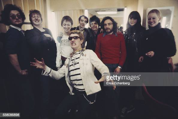 The Damned and publicist BP Fallon backstage at LWT TV Show 'Supersonic' London 1977