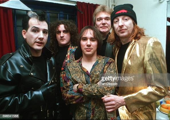 The Damned group portrait backstage at The Forum Kentish Town London 03 December 1993 Dave Vanian left and Rat Scabies right