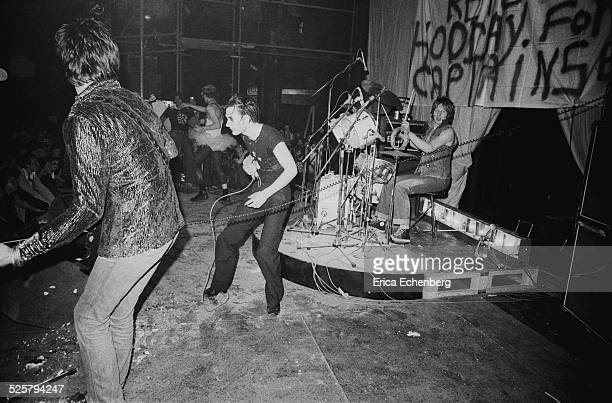 The Damned perform on stage at The Roundhouse London United Kingdom 1977 LR Brian James Captain Sensible Dave Vanian Rat Scabies